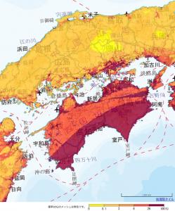 地震確率 中四国